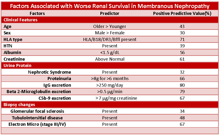 Factors Associated with Worse Renal Survival in Membranous Nephropathy